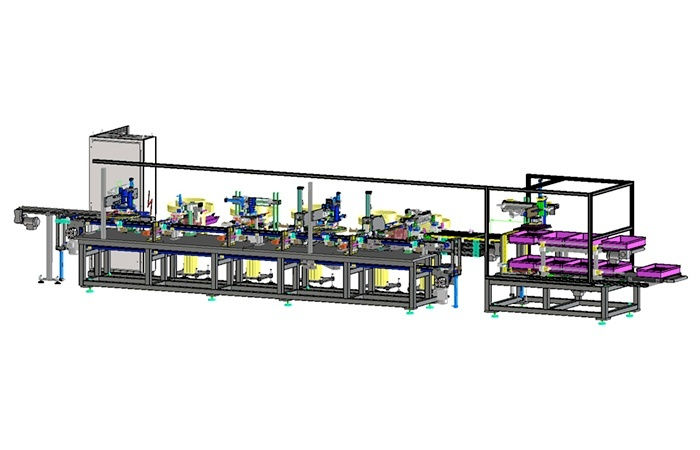 Line machine to assemble frameworks profiles in three lengths right and left